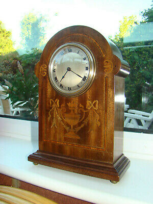 8 day inlaid mahogany mantel clock in working order French movement running well