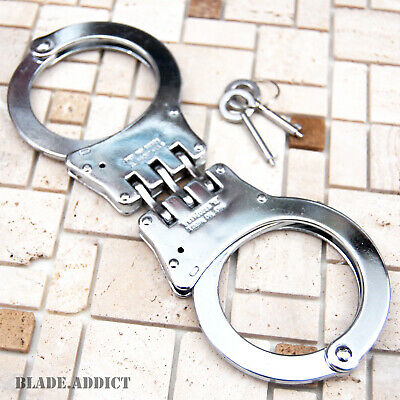Professional Double Lock Chrome Steel Hinged Police Handcuffs w/ Keys Real -T