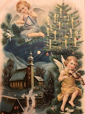Antique EAS Christmas Postcard Angels In Night Sky Play Music EMB DB Germany