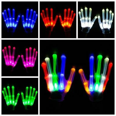 Flash House LED Gloves Flashing Finger Light Up Rave Party Doof Glow In the Dark