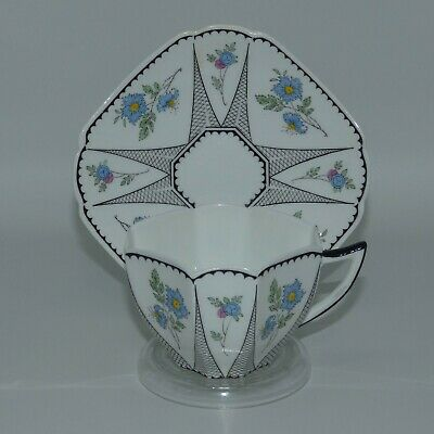 Shelley Queen Anne RARE Unnamed Pink Blue Cornflowers #11477 DUO c.1925 - 1940