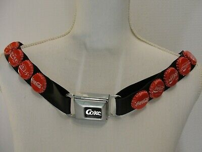 Coca Cola Coke Bottle Caps Stretch Rubber Belt w Seat Belt Buckle Distrssed