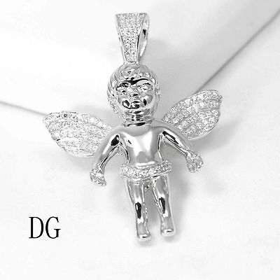 Jewelry & Watches DG Women's 925 Sterling Silver,Angel Prayer Iced-Out CZ Mini Pendant.Unisex**Box