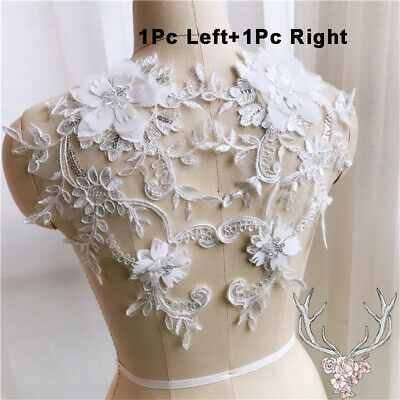 1x3D Flower Lace Embroidery Bridal Applique Pearl Beaded Tulle Wedding Dress New