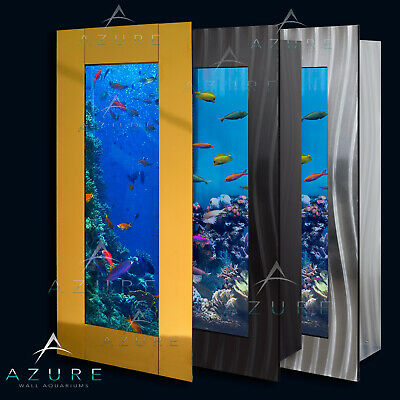 Wall Aquarium - Vertical Luxury Wall Mounted Fish Tank Black Silver