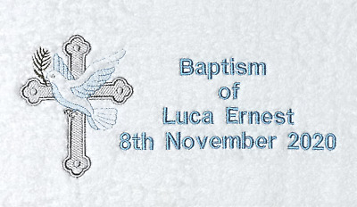 Baptism gift, baby baptism towel.personalised with name and date
