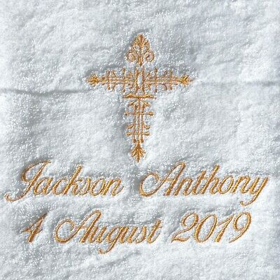 Personalised Baptism Christening towel embroidered with name and date
