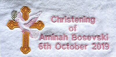 Personalized Christening towel, embroidered name and date, small or bath size