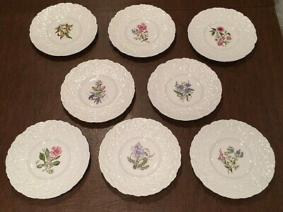 "Set of 8 Vintage ROYAL CAULDON Bristol Ironstone WOODSTOCK Floral 9.25"" Plates"