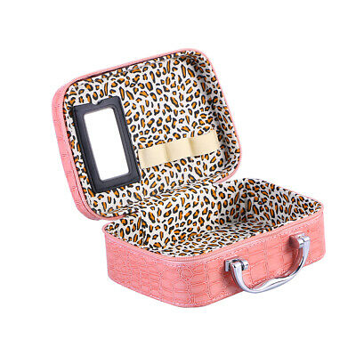 Women Fashion Cosmetic Bag Travel Makeup Case Handheld Pouch Organizer w/ Mirror