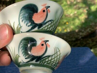 Antique Vintage Rooster Chicken Sushi Bowl Dipping Sauce Rice Set of 2 ❤️ sj17j