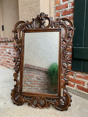 Antique French Open Carved Oak Wall Beveled Mirror Frame Foyer  Louis XV