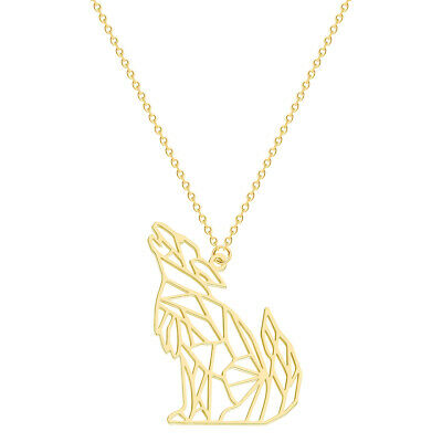 Gold Vermeil Origami Wolf Pendant Necklace Silver Howling Wolf Animal Jewelry