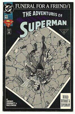 """DC Comics, THE ADVENTURES OF SUPERMAN #498, January 1993.  """"Death of a Legend""""."""