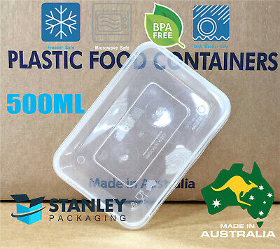 500ML Food Container Plastic DISPOSABLE Takeaway *Made in Australia* Box Lids