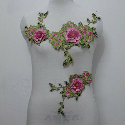 1Set 3D Flower Exquisite Embroidery Applique Patch Trims~Sew On For Dancewear