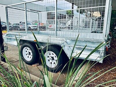 10x5 Full Welded Galvanised Tandem Trailer Box Trailer with 900mm Cage PICKUPTOD