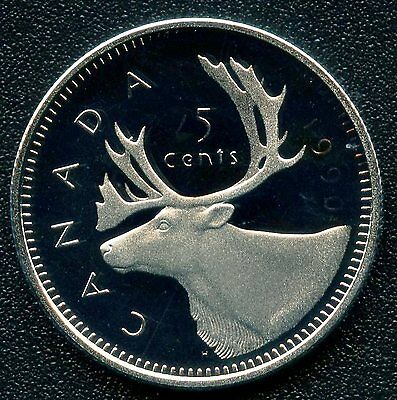 1990 Canada Frosted Proof 25 Cent Coin