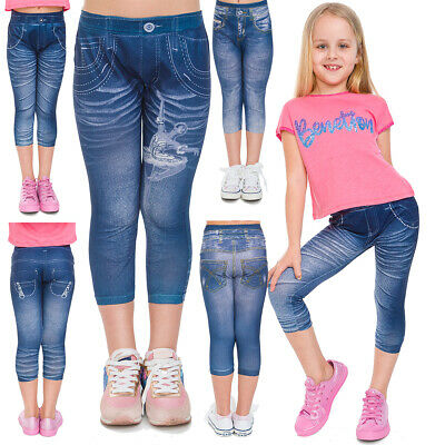 Girls Denim Imitation 3/4 Leggings Kids Capri Pants with Print Schoolwear KW0817