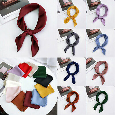 Solid Color Ladies Hair Tie Band Women Square Scarf Head Neck Silk Feel Satin