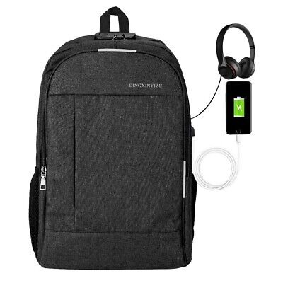 20 inch Anti-theft Laptop Backpack with USB Charger Port Travel Business Bag UK