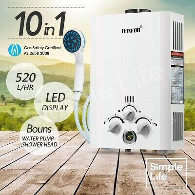 MAXKON Portable 520L/Hr Gas Hot Water Heater Outdoor Camping Shower LPG Instant