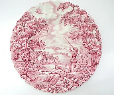 "MYOTT Vintage 8"" PLATE The Hunter PINK Hand Engraved Made in England"