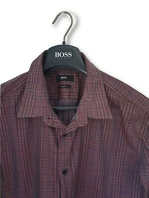 c234e9f51 Hugo Boss Gent's Premium Burgundy/Black Check Pattern Shirt Slim Fit Xl *Vgc *