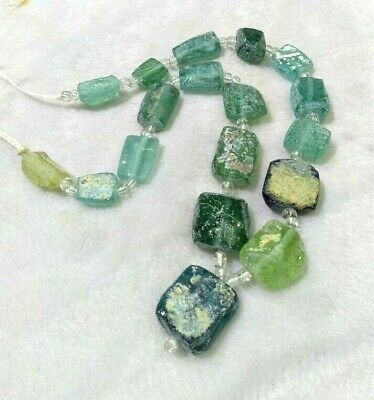 Ancient Roman Glass Beads Old Square Random 1 Strand Necklace Wonderful Antiques