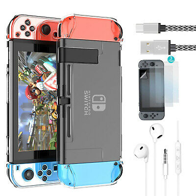 Hard Clear Case+Earphone+Charging Cable+3x Screen Protector For Nintendo Switch
