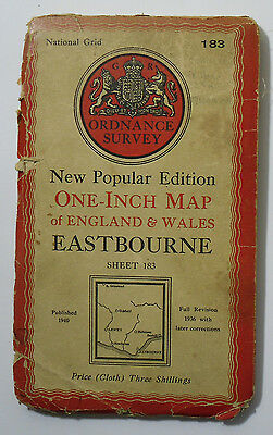 1946 OS Ordnance Survey one-inch New Popular Edition map 183 Eastbourne on cloth