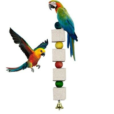 Pet Bird Stone Mouth Grinding Molar Parrot Parakeet Budgie Cage Chew Toy New