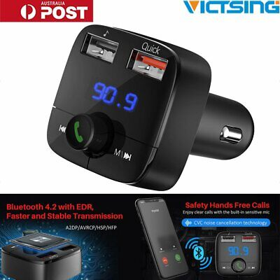 VicTsing Wireless Bluetooth 4.2+EDR Car Auto FM Transmitter USB Quick Charger AU