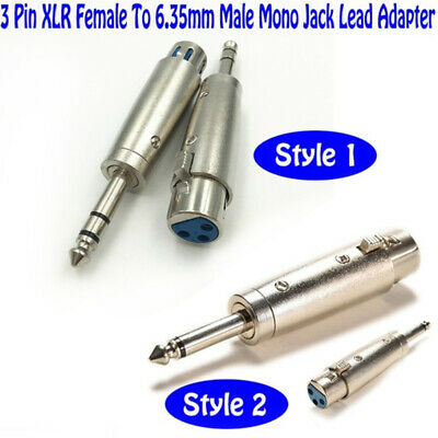 3-Pin XLR Female to 1/4 6.35mm Stereo Male Plug TRS Audio Cable Cord Mic Adapter