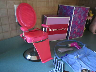 American Girl Doll HAIR STYLING SALON SPA CHAIR & ACCESSORIES Brush Blow Dryer +