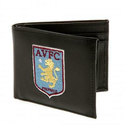 Aston Villa FC Black Faux Leather Wallet Embroidered Club Crest Logo