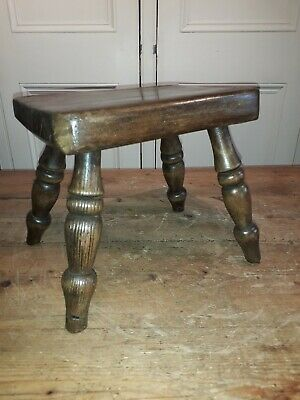 Victorian Turned  Beech Milking Stool