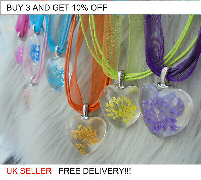 Heart Flower Glass Pendant Necklace Gift Jewellery MULTICOLOR ribbon