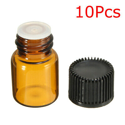 10 Pièces 2ml Glass Amber Goutteur Bottle For Essential Oils Aromatherapy Crafts