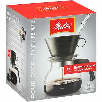 Melitta 640446 Coffee Maker 6 Cup Brewing Cone & Glass Carafe New - Pour Over