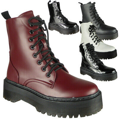 Womens Ankle Chunky Ladies Lace Up Goth Punk Shiny Zip Platform Shoes Boots Size