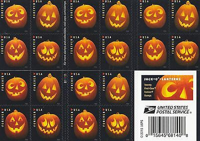 Scott# 5137-5140 JACK O'LANTERN 2016, SELF-ADH BOOKLET 20 STAMPS FOREVER STAMPS