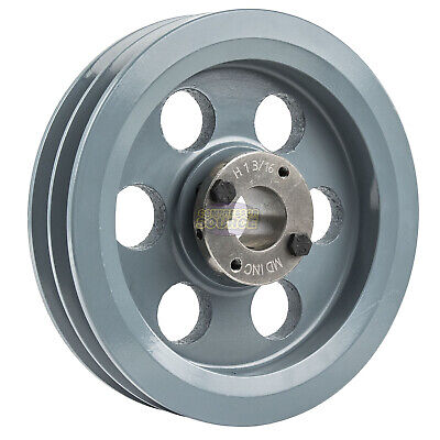 """Cast Iron 7.75"""" 2 Groove Dual Belt B Section 5L Pulley 1-3/16"""" Sheave Bushing"""