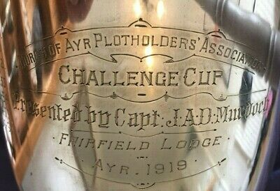 antique 1919 Ayr Scotland large silver plate trophy, loving cup, trophies