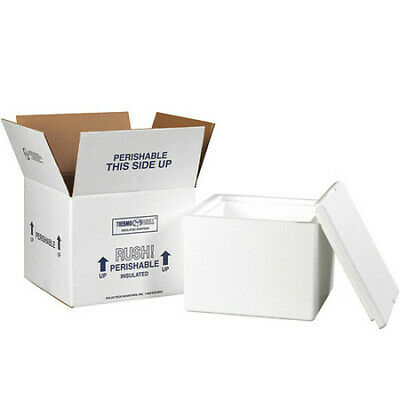 """PARTNERS BRAND 214C Insulated Shipping Kits, 9 1/2""""x9 1/2""""x7"""", White"""