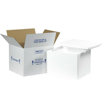 """PARTNERS BRAND 229C Insulated Shipping Kits, 12""""x10""""x9"""", White"""