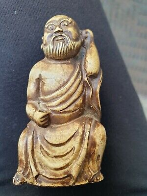 Rare Antique Chinese Oriental Hard Stone God Carving .