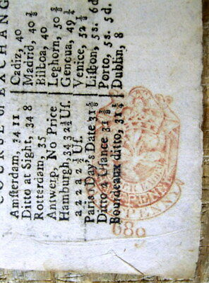 1763 French & Indian War era LONDON CHRONICLE England newspaper w RED TAX STAMP