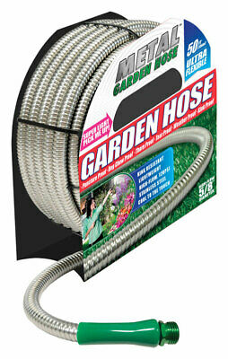 Metal Garden Hose  As Seen on TV  5/8 in. Dia. x 50 ft. L All Purpose  Silver  H