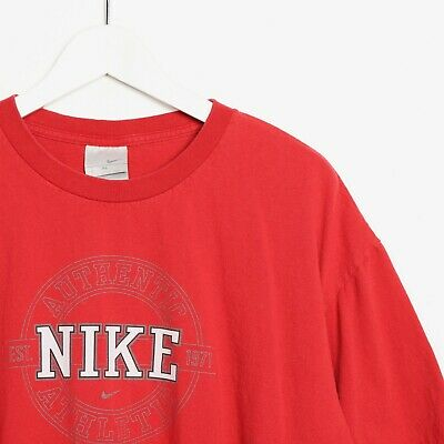 cd554e6486e10 VINTAGE 90S NIKE Air T Shirt Double Sided Big Logo Mens XL Red Tee ...